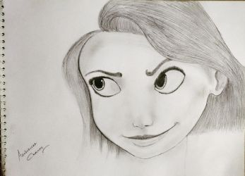 Sketch Disney Princess Rapunzel From Tangled by abhinendrachauhan