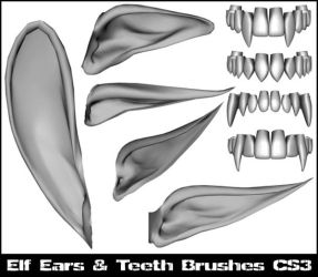 Elf ear and teeth brushes CS3 by lilnymph