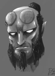 Hellboy Head by BlackGuard89
