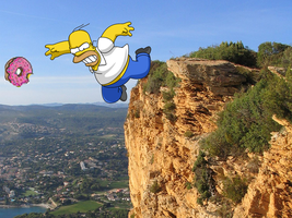 Homer falling of cliff by matthewolee