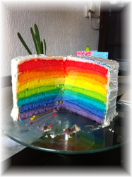 My version of a rainbow cake!