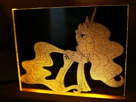 Princess Celestia LED Picture in Mirror by steeph-k