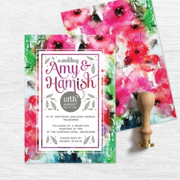 Waterbrushed Bright Watercolour Wedding Invitation by fabledpapery