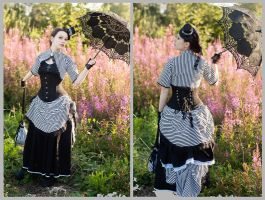 Black and striped bustle dress by sombrefeline
