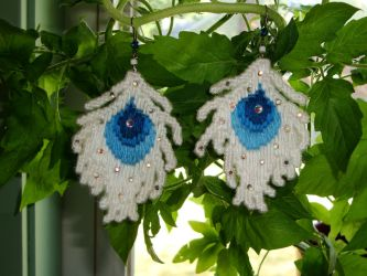 White Peacock needlepoint earrings by HeddaLee