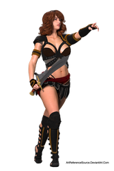 Free Stock:  Woman with Sword Pointing PNG by ArtReferenceSource