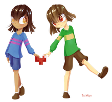 Frisk and Chara by PatchNpaw