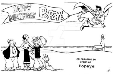 Superman's Annivesary Tribute to Popeye's 90th by zombiegoon