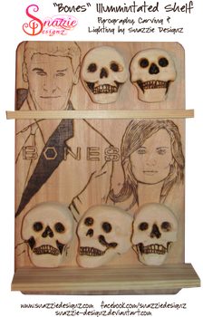 Bones Shelf Carved Pyrographed Illuminate - WIP 04 by snazzie-designz