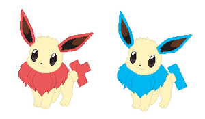 Eevee-plus And Minun .:GIFT:. by xXSoft-SilenceXx