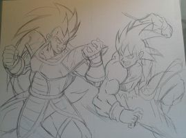 Goku Vs Radits Sketch by MikeES