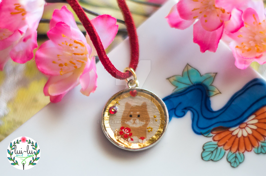 Year of the Dog Golden Portrait Pendant by taeliac