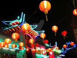 Neon Pagoda and Lanterns by ShipperTrish
