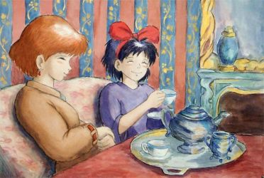 nausicaa and kiki have tea by hooktail-the-cat