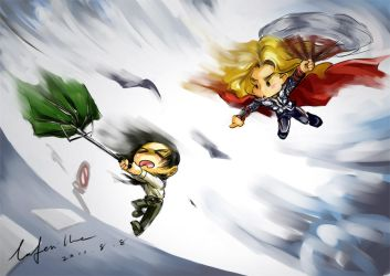 Loki and Thor and their storm by geminibluedream