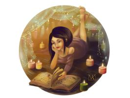 Young Witch Reading by VeronicaKosowski