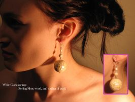 White Globe Earings by HappyThawts