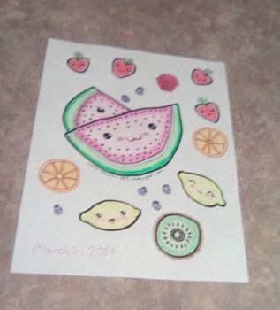 Fun Fruit Coloring Page by Daryl-the-cartoonist