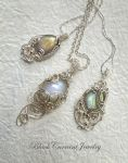 Labradorite and Moonstone Silver Pendants by blackcurrantjewelry
