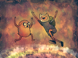 Jake and Finn .:. The Rainbow by dwightyoakamfan