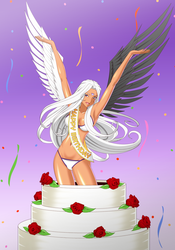Urd - Birthday Cake [COMMISSION] by BlueBullPen