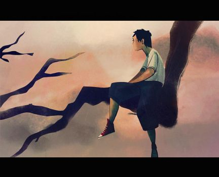 boy in tree by andrahilde