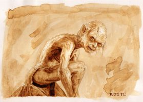 Gollum the Brown - coffee painting by Adnaurian