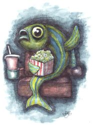 Zebra fish at the cinema by keiross