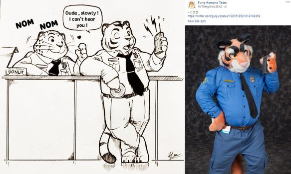 Fursuit fan art - Clawhauser and the officer tiger by doraemonbasil