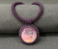 Soul of Flower bead embroidered mookaite necklace by YANKA-arts-n-crafts