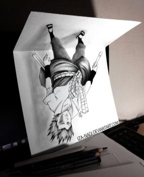 NEW TYPE OF 3D Drawing on Paper - Suspended Sasuke by Iza-nagi