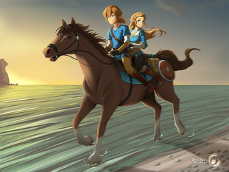 Zelda Breath of the Wild - Riding in the evening by Orcaleon