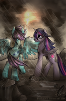 COMM: Hurricane Winged and Twilight Sparkle by MadBlackie