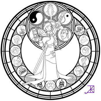 Mulan Stained Glass -line art- by Akili-Amethyst