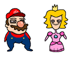 Mario and Peach by holyphat1