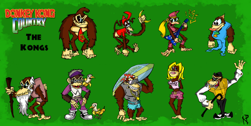 Primate Mates-The Kongs of Donkey Kong Country by NickProlArt