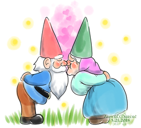 Kissing Gnomes (T-Shirt) by AnScathMarcach