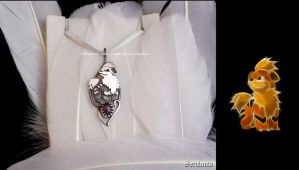 'Growlithe', handmade sterling silver pendant by seralune