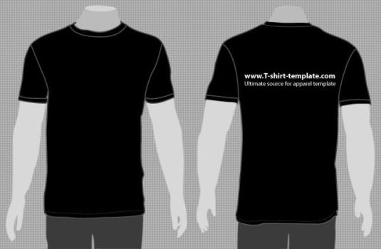 Plain Black T-Shirt Template Front and Back by t-shirt-template