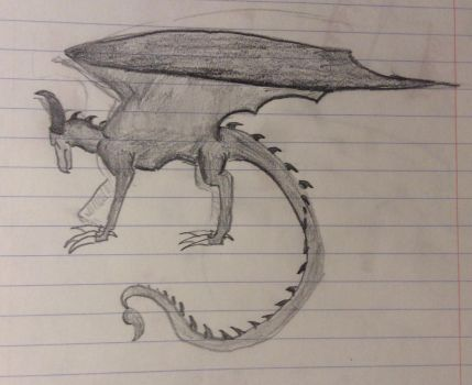 Shaded Sketch of a Dragon by Raventhenightwing