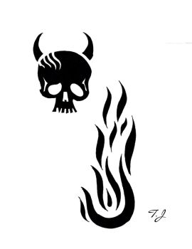 Skull with horns and flame Tribal by Silgan