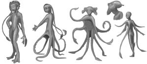 Cephalopod Alien Concepts by Tawadi