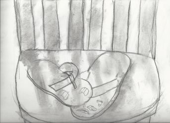 Sandals on a chair (charcoal) by MilesSeawind