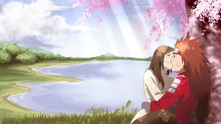 Under the Cherry Blossoms Choji and Mika by Yumi-Ho