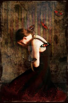 Girl with Red Butterflies by MagpieMagic