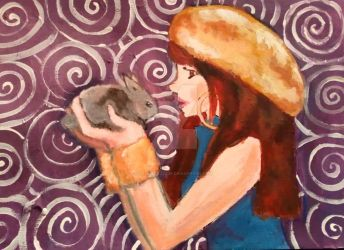 girl with cute rabbit acrylic by AgrumeToxique