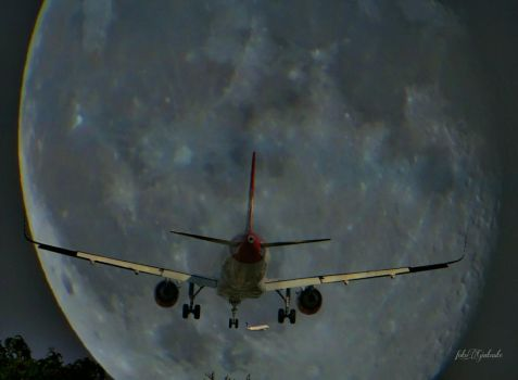 Moon and plane... by gintautegitte69