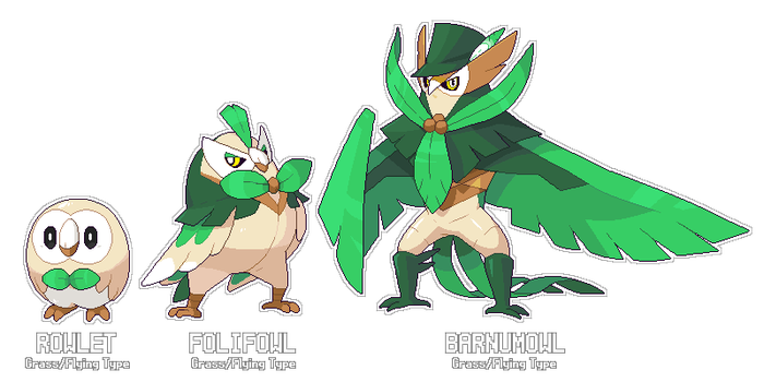 Fakeathon Day 1 - Rowlet Evolution by SirAquakip