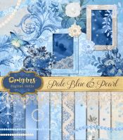 Pale Blue and Pearl Digital Scrapbooking Kit by DigitalCurio
