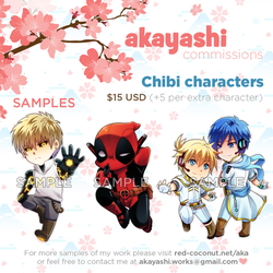 [Commissions] - Chibi commissions OPEN! by akayashi
